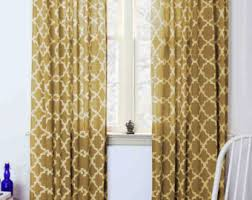 Moroccan Tile Curtain Panels by Moroccan Curtains Yellow Tiles Mustard Geometric Window