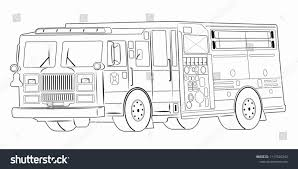 100 Fire Truck Drawing Illustration Black White Stock Vector Royalty