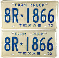 1970 Texas Farm Truck License Plates | Brandywine General Store