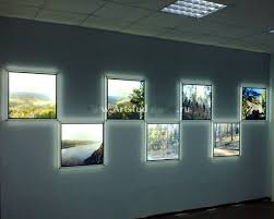 7pcs indoor wall mount a2 led edge lit acrylic picture frame
