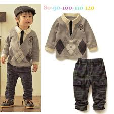 Kids Clothes Boys Setup Long Sleeve Shirt Pants Gentleman Layering Wind Diamond Pattern Simple