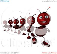 Royalty Free RF Clipart Illustration of a 3d Line Ants