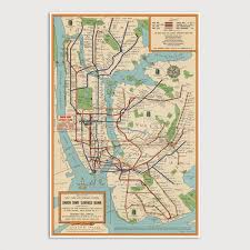 Old New York Subway Map Art Print 1954 Antique Map Archival Etsy