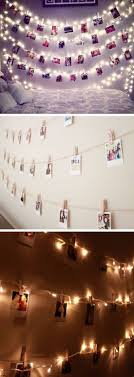 Polaroid Wall With String Lights