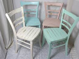4x shabby küchenstuhl holzstuhl stuhl bauernstuhl bunt 60er