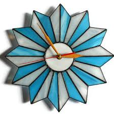 Starburst Clock Turquoise Blue And White Unique Mid Century Modern Wall Geometric