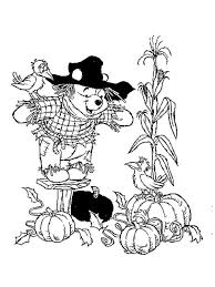 Pumpkin Patch Coloring Pages Free Printable by Winnie The Pooh Bees Scarecrow Coloring Page Free Printable 17090