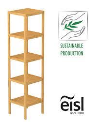 eisl badezimmer regal bambus badregal schmal mit 5 ablagefächern nachhaltiges badmöbel bambus