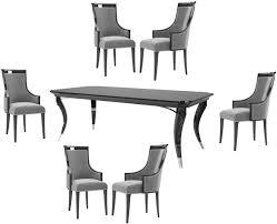 casa padrino luxus deco esszimmer set grau schwarz silber 1 esszimmertisch 6 esszimmerstühle luxus qualität deco esszimmer möbel