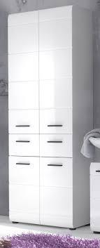 badezimmer hochschrank skin hochglanz weiß 60x182 cm