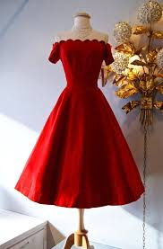 Dress Vintage Red Velvet Off The Shoulder Party This Fabulous Features A Scalloped