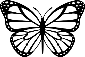 Black and White Monarch Butterfly Free Clip Art