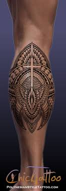 Cross Polynesian Style Calf Tattoo Design Very Sweet And Clean