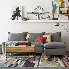 West Elm Bliss Sofa by Quinn Sectional Heathered Crosshatch Feather Gray Bliss