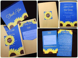 Royal Blue Yellow Gold Sunflower Pocketfold Wedding Invitations Thank Yous