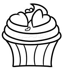 valentine cupcake drawing step 5
