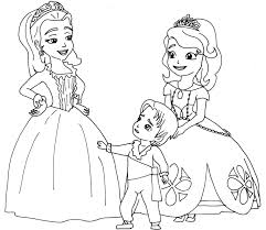 Free Printable Sofia The First Coloring Page With Amber And Baby James In Two Princesses A
