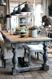 Distressed Farmhouse Table Awesome Dining Room With Chunky Legs Finish Wood