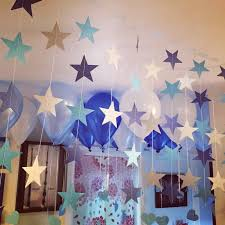 Wall Hanging Paper Star Garlands 4m Birthday String Chain Wedding Party Banner Children Room Home Decoration Silver Gold Blue In DIY Decorations From