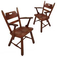 Pair Of Cushman Vermont Hard Rock Maple Americana Armchairs ...