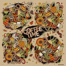 stock vector buntes handgezeichnetes gekritzel comic set mit themen objekten und symbolen für und kaffee