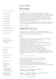 Sample Resume For Hotel And Restaurant Management Graduate Bar Manager Fresh