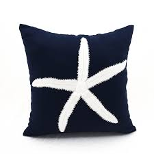 Decorative Couch Pillows Amazon by Amazon Com Starfish Throw Pillow Navy Blue Cotton Linen Square