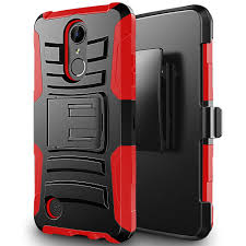 LG K20 Plus Heavy Duty Armor Case Cover Holster Red Black CellPhoneCases