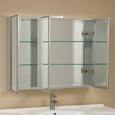 Brushed Nickel Medicine Cabinet With Mirror by Clairement Series Aluminum Tri View Medicine Cabinet Bathroom