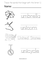 Trace the words that begin with the letter U Coloring Page Twisty