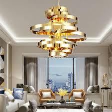großhandel creative ring gold edelstahl anhänger licht moderner wirbelwind hängende le d72cm für restaurant wohnzimmer suspension pa0145