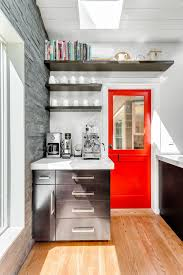 Cuisinart Keurig Coffee Maker Transitional Kitchen Also Corner Espresso Machine Floating Shelves Herringbone Pattern