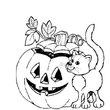 Cat And Halloween Pumpkin Coloring In Pages Page