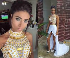 2016 sparkly two pieces prom dresses with gold rhinestone