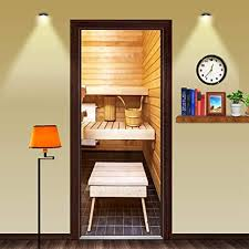 xiaoxinyuan 3d tür aufkleber creative sauna tür tapeten diy