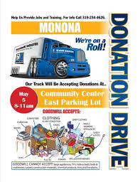 5/5/18: Manned SPRING Goodwill Donations Truck - Monona Chamber ... Donating A Car Without Title Goodwill Car Dations Mobile Dation Trailer Riftythursday Drive For Drives Omaha A New Place To Donate In South Carolina Southern Piedmont Box Truck 1 The Sign Store Nm Ges Ccinnati Goodwill San Francisco Taps Byd To Supply 11 Zeroemission Electric Donate Of Central And Coastal Va With Fundraising Fifth Graders Lin Howe Feb 7 Hosting Annual Stuff Drive Saturday Auto Auction
