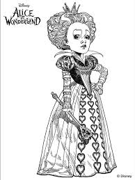 The Red Queen From Tim Burtons Alice In Wonderland Coloring Pages Colouring