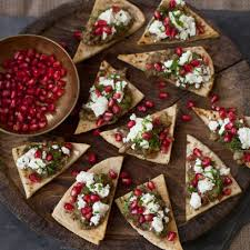 healthy canapes recipes crispy pitta chips topped with aubergine pomegranate and mint