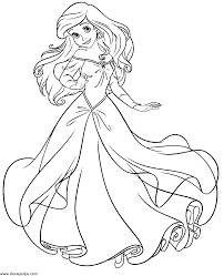 Ariel Coloring Page Little Mermaid Pages Sketch Line Drawings