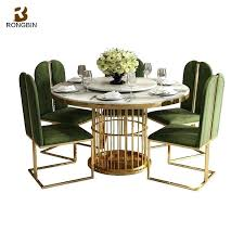 Metal Dining Room Table Home Furniture Modern Luxury Set 6 Round Marble