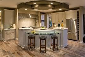circular kitchen island with amazing parquet flooring and stylish