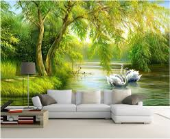 Custom Mural Photo 3d Living Room Wallpaper Swan Lake Forest Home Decor Painting Picture Wall