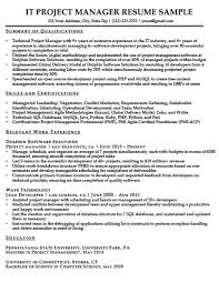 Project Manager Resume Sample Download Proj Qualifications Summary