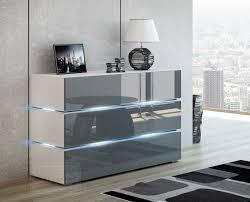 kommode shine sideboard 120 cm grau hochglanz weiß led beleuchtung modern design tv möbel anrichte sigma