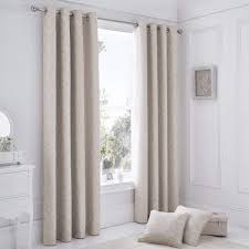 Gold And White Curtains Uk by Serene Ebony Jacquard Floral Natural Lined Eyelet Curtains Dove Mill