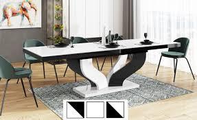 design esstisch tisch heb 222 weiß schwarz hochglanz ausziehbar 160 bis 256 cm