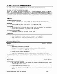 Sample Resume For Experienced In Dotnet Developer Fresh Software Inspirational Within