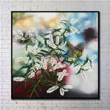 Contemporary Wall Art Flowers Abstract Print With Black Frame 4040 H