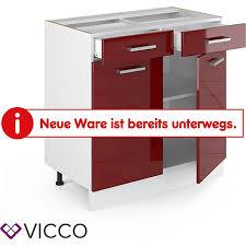 vicco schubunterschrank 80 cm küchenzeile unterschrank r line ohne arbeitsplatte rot hochglanz