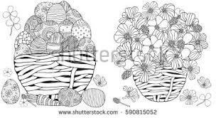 Set Of Anti Stress Coloring Book Pages For Adult Basket With Easter Eggs And Spring